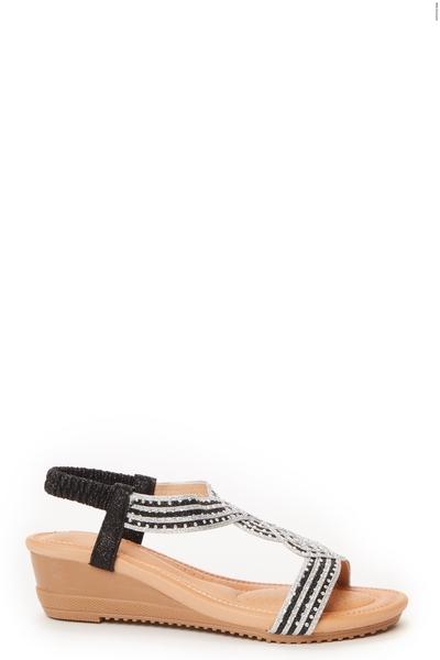 Black Twist Front Wedge Sandals